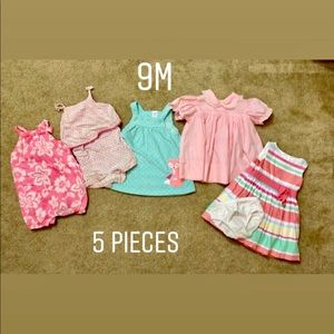 BUNDLE of 5 dresses/ Rompers size 9 months